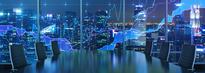 Graf og møterom med utsikt over by